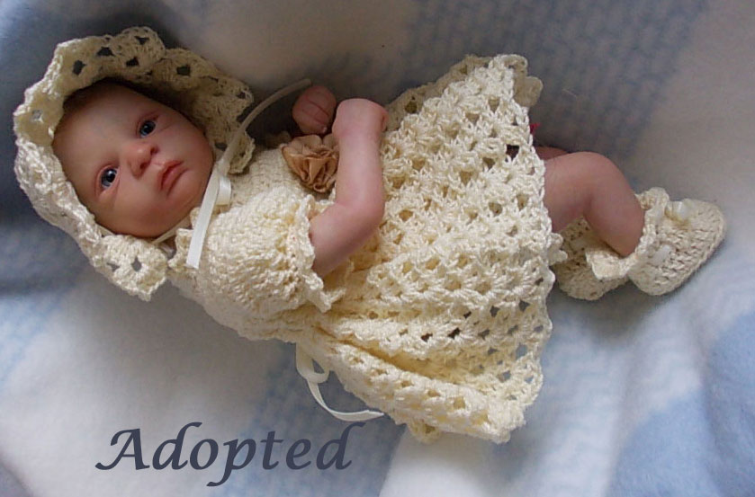 Reborn baby girl Aliah from the Flora sculpt by Gudrun Legler.  Reborn by Sharla Field of Silvery Moon Cherubs