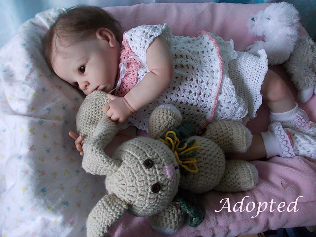 Reborn baby girl doll Krista from retired Linda Murray sculpt.  Reborn by Sharla Field at Silvery Moon Cherubs.
