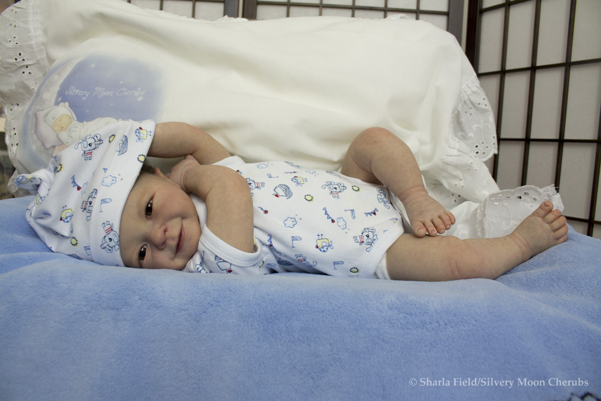 Reborn baby boy doll from the Rieke kit by Linde Scherer, reborn by Sharla Field of Silvery Moon Cherubs nursery.